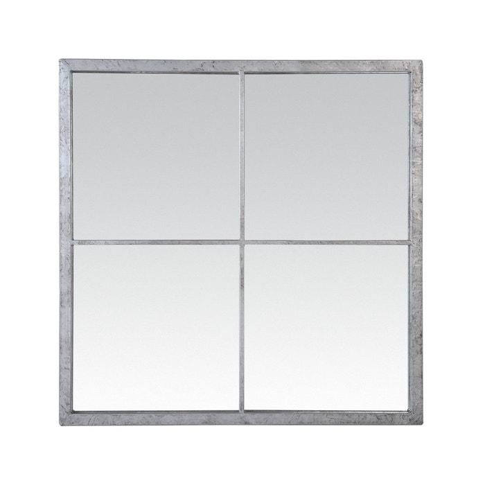 Miroir fen tre zinc 60x60 gris emde premium la redoute for Miroir 60x60