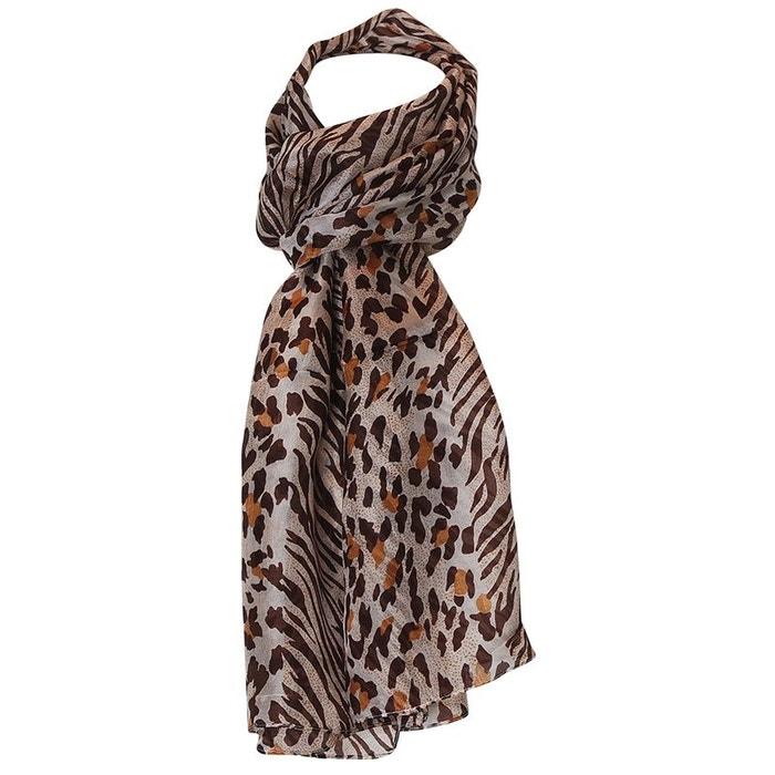 Foulard de soie léopard marron Chapeau-Tendance   La Redoute 6bfcdc98461