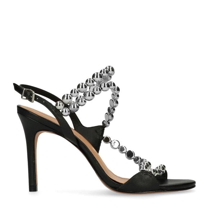 Sandales à talon aiguille avec perles noir Sacha