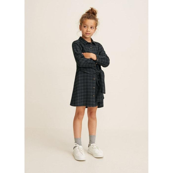 Robe carreaux noeud gris Mango Kids   La Redoute 988ea48d9b98