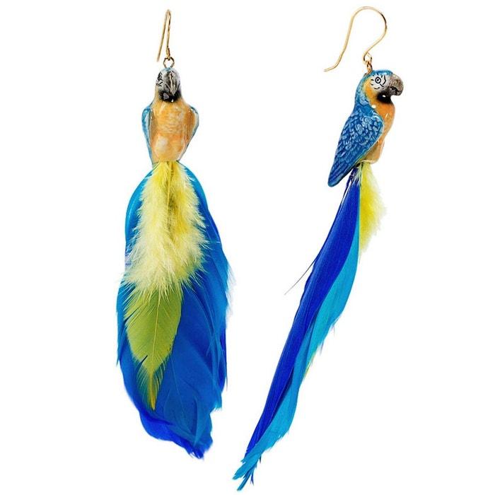 Boucles d'oreilles plumes perroquet bleu en porcelaine. jaune, bleu, doré Nach Bijoux | La Redoute