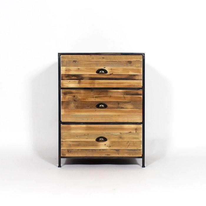 commode bois m tal 3 tiroirs kc20 1801 4 marron made in meubles la redoute. Black Bedroom Furniture Sets. Home Design Ideas