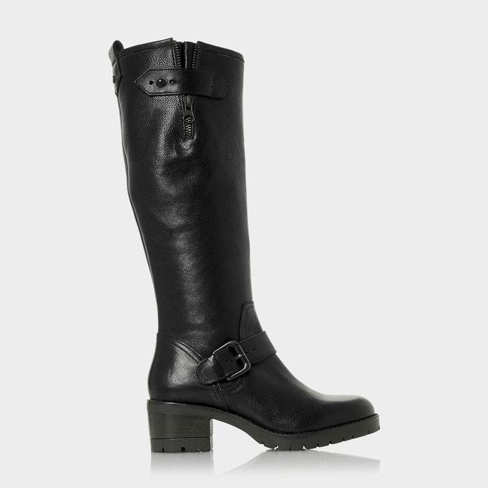 Bottes au genou à talons carrés - tilburn noir cuir Dune London
