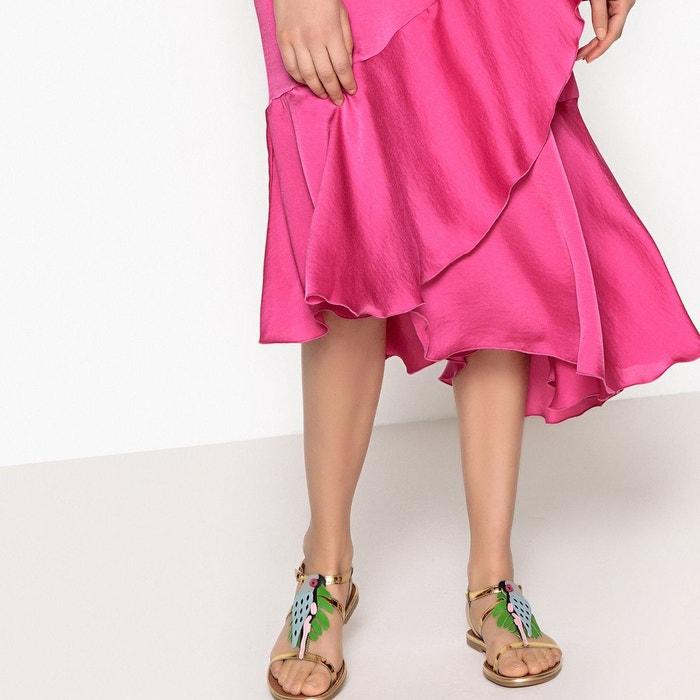 Sandales cuir détail perroquet multicolore La Redoute Collections