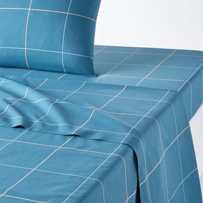 drap plat percale de coton karo bleu paon la redoute interieurs la redoute. Black Bedroom Furniture Sets. Home Design Ideas