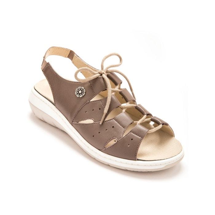 Sandales à semelle amovible, ouverture totale marron métallisé Pediconfort