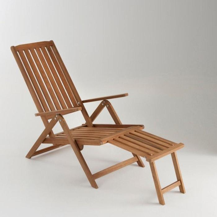 chaise longue de jardin 5 positions acacia bois clair naturel la ... - Chaise Longue Jardin Bois