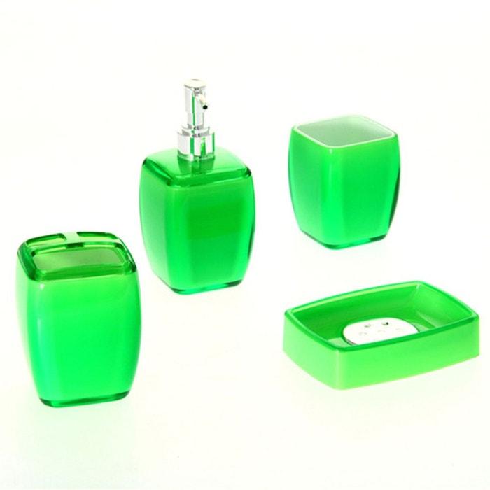 4 accessoires de salle de bain clear vert vert instant d for Accessoire de salle de bain vert