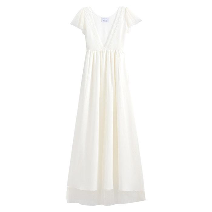Robe de mariée longue, manches courtes ecru