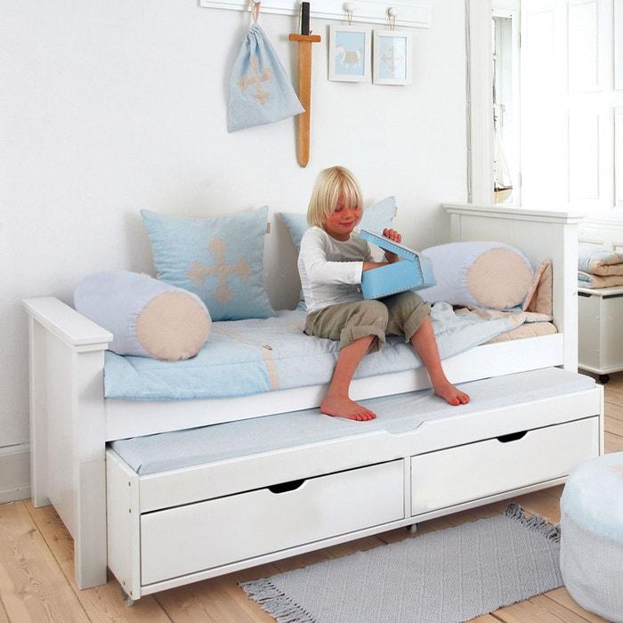 Lit enfant 90x200 avec lit gigogne et tiroirs blanc alfred - Lit superpose avec lit gigogne ...
