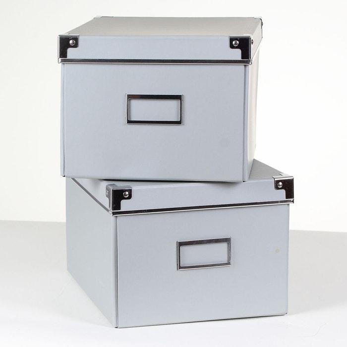 Lot de 2 bo tes carton grises m tal gris calicosy la for Boite a couture la redoute