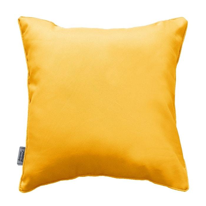 Coussin passepoil 60 x 60 cm jaune couleur unique douceur - Coussin d interieur ...
