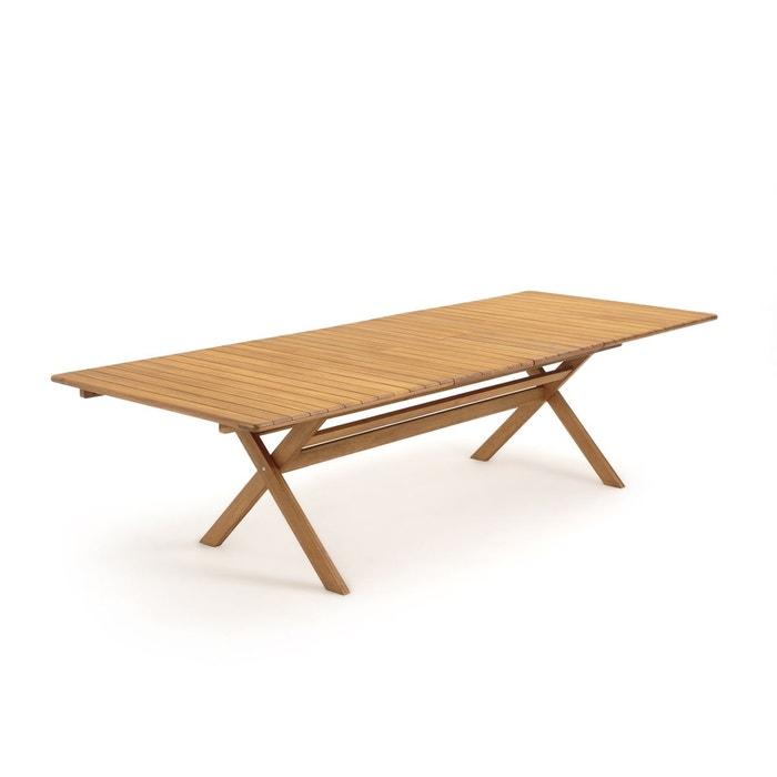 Table de jardin pliante Réalto, acacia, 2 allonges