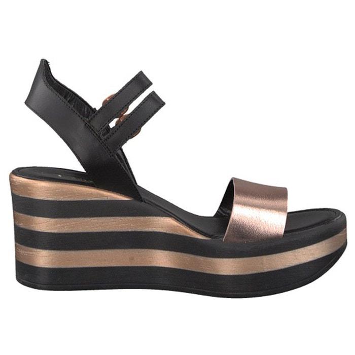 Sandales compensées, cuir noir Tamaris