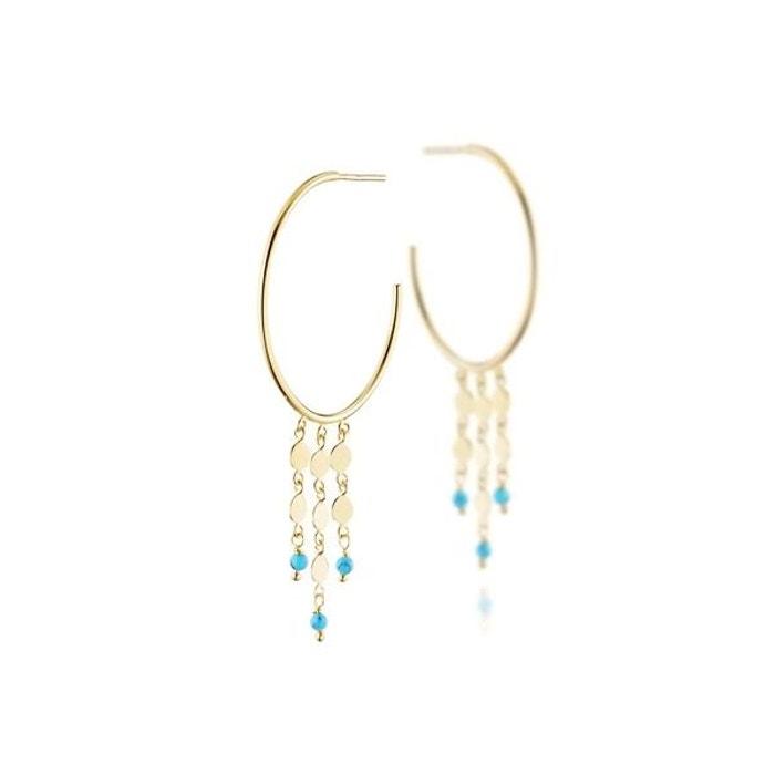 Boucles d'oreilles percées mimi en argent 925, dorure or 18k, turquoise, 3g argent Clio Blue | La Redoute