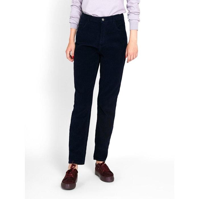 Pantalon taille haute velours côtelé maritime blue Pieces   La Redoute bf7c920e4642