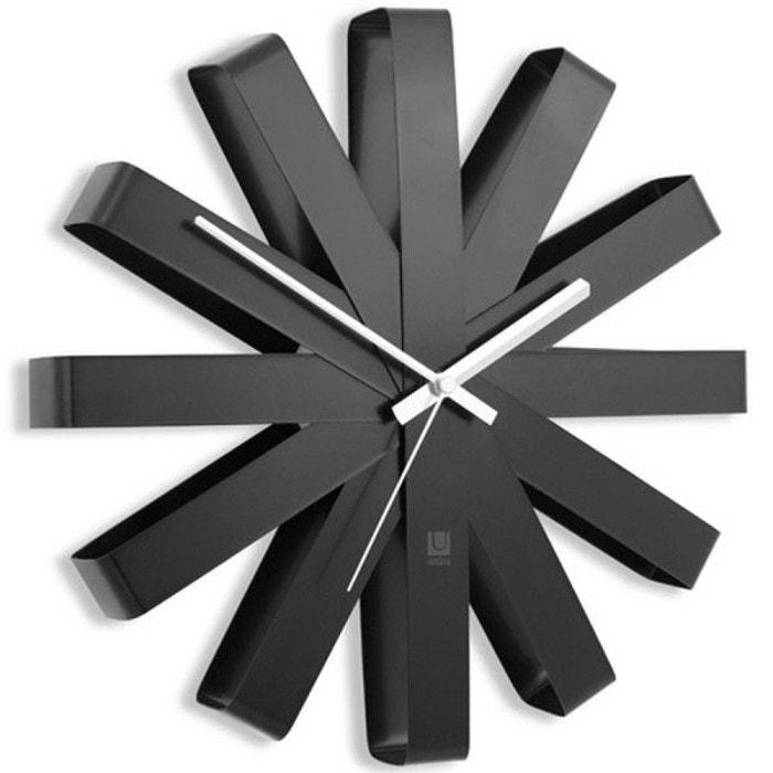 Horloge murale design acier noir ribbon multicolore umbra la redoute for Horloge murale multicolore
