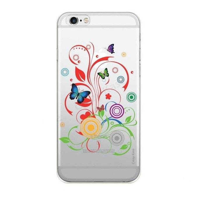 Coque pour iPhone 6 Plus / 6s Plus Transparente souple motif Papillons et Cercles