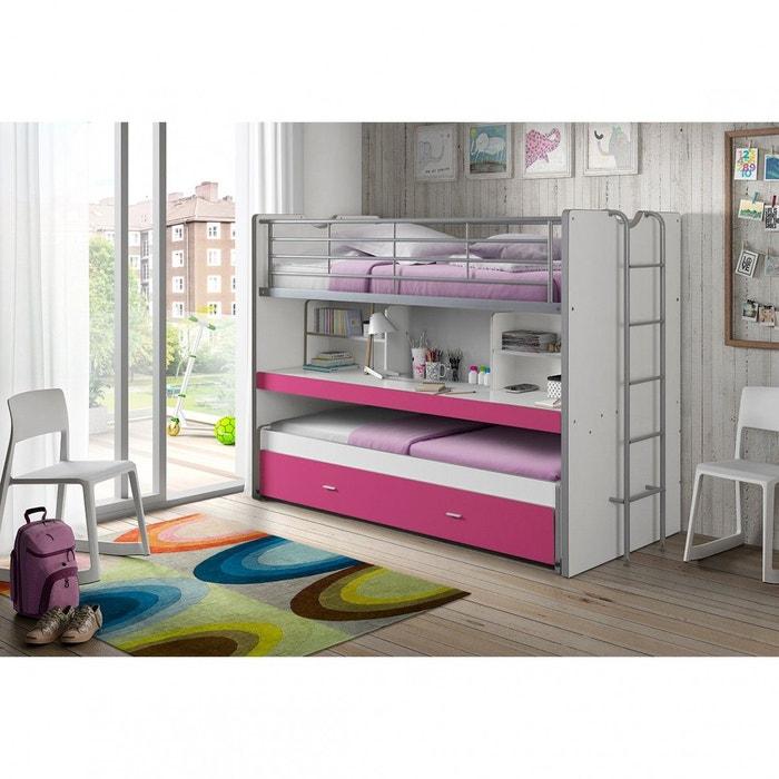 lit superpos 3 couchages bureau fuchsia 90x200 rose terre de nuit la redoute. Black Bedroom Furniture Sets. Home Design Ideas