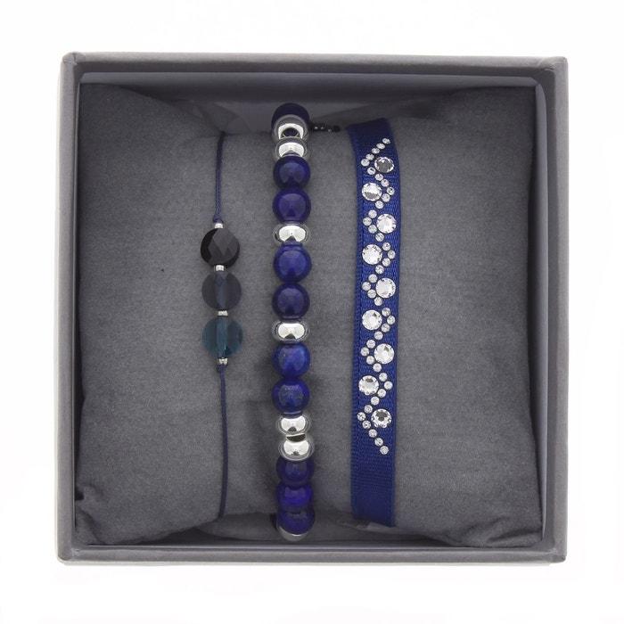 Coffret les interchangeables, bracelets en satin bleu, cristal blanc et lapis