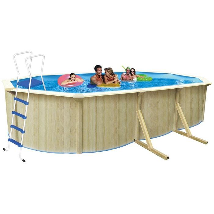 piscine acier ovale aspect bois caracas x x m couleur unique h j habitat et. Black Bedroom Furniture Sets. Home Design Ideas