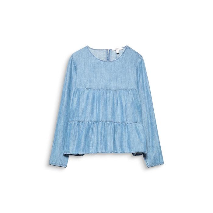 larga manga ESPRIT cuello Blusa con lisa redondo xBqHYp