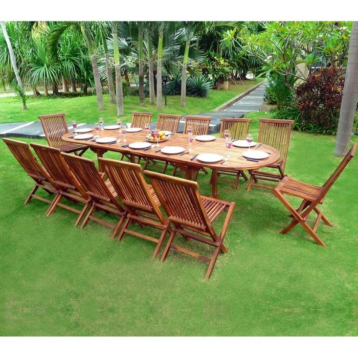 71bc788b20ea7f Salon en teck huilé xxl 12 places - table 200-250-300 cm Wood En Stock   La  Redoute