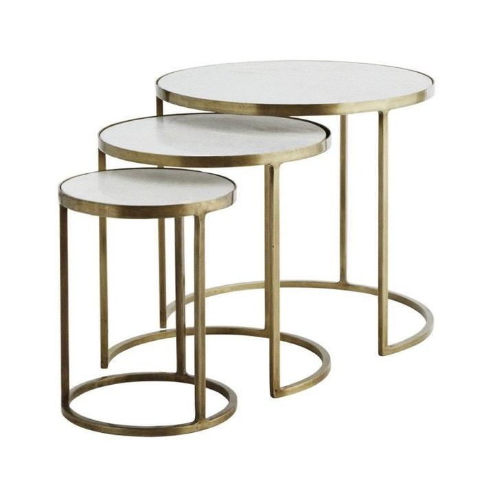 Set De 3 Tables Basses Rondes Gigognes Marbre Métal Laiton Madam