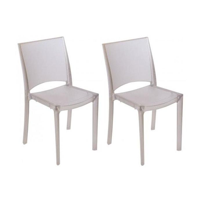 Lot de 2 chaises transparentes grises claires fum es nilo for Chaises transparentes
