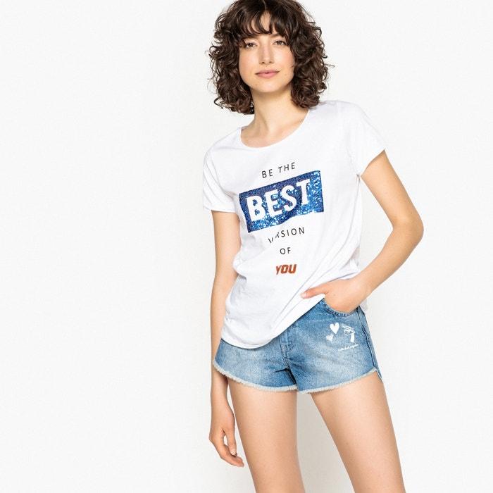 T-shirt scollo rotondo, maniche corte, scritta in paillettes  La Redoute Collections image 0