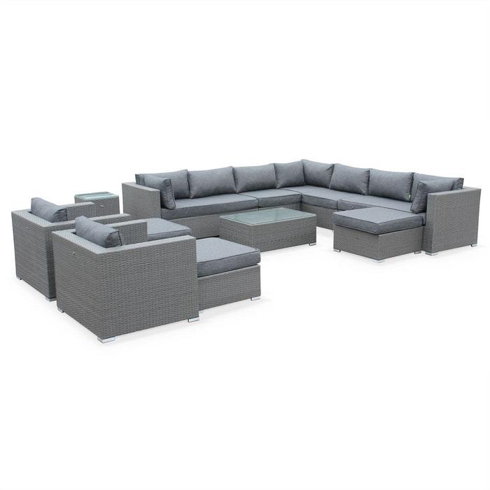 Salon de jardin en r sine tress e grise xxl 14 place fauteuil canap g ant gris gris chin for Fauteuil salon de jardin la redoute