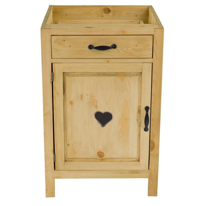 meuble bas pin massif 60 cm 1 porte ouverture gauche avec coeur 1 tiroir praz