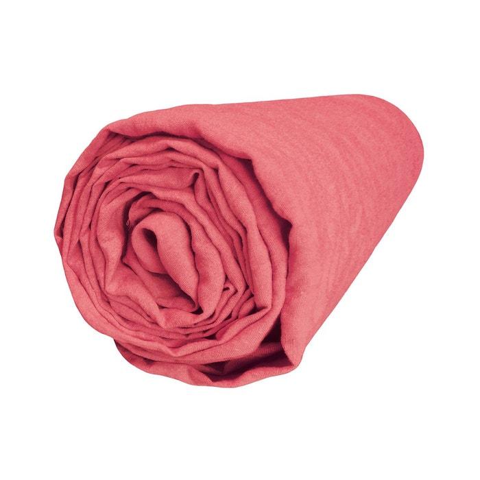 drap housse bonnet 37 cm lin lav uni couleur corail corail blanc cerise la redoute. Black Bedroom Furniture Sets. Home Design Ideas