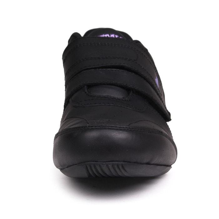 Baskets basses en cuir noir violet Lonsdale