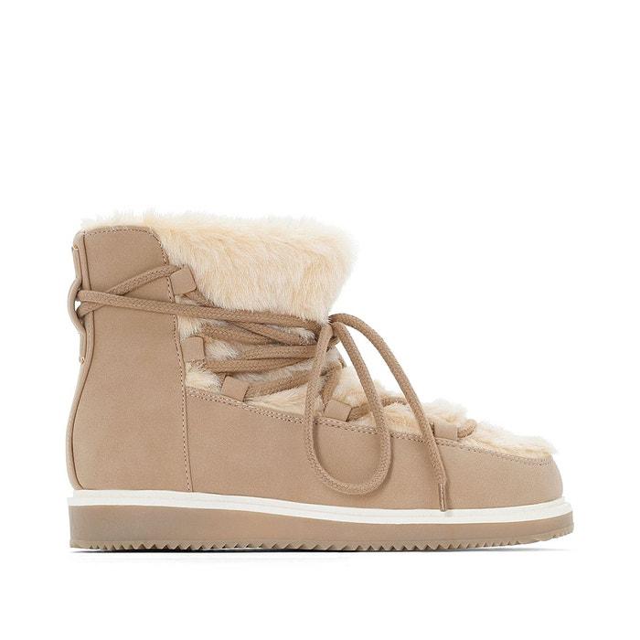 Boots fourrées beige La Redoute Collections