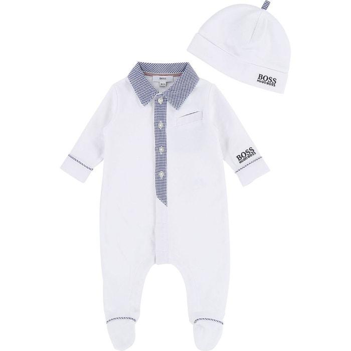 1fef4930e7fe Ensemble pyjama et bonnet bébé coton blanc Boss - Hugo Boss   La Redoute