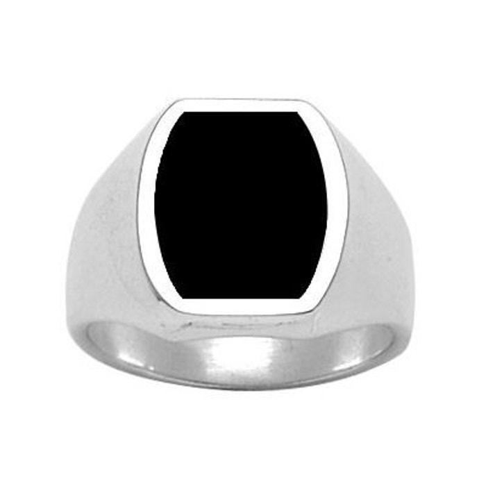Jeu Meilleur Endroit Chevalière bague anneau carré arrondi tonneau onyx noir argent 925 couleur unique So Chic Bijoux | La Redoute Livraison Gratuite Fiable 1bRB7ve5Y