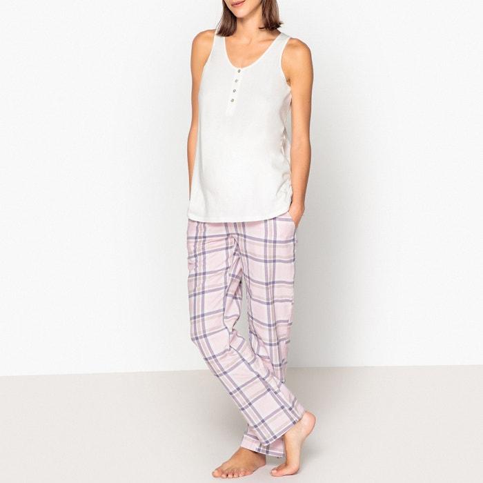 f0f81677442 Pijama de embarazo y lactancia blanco rosa La Redoute Maternité