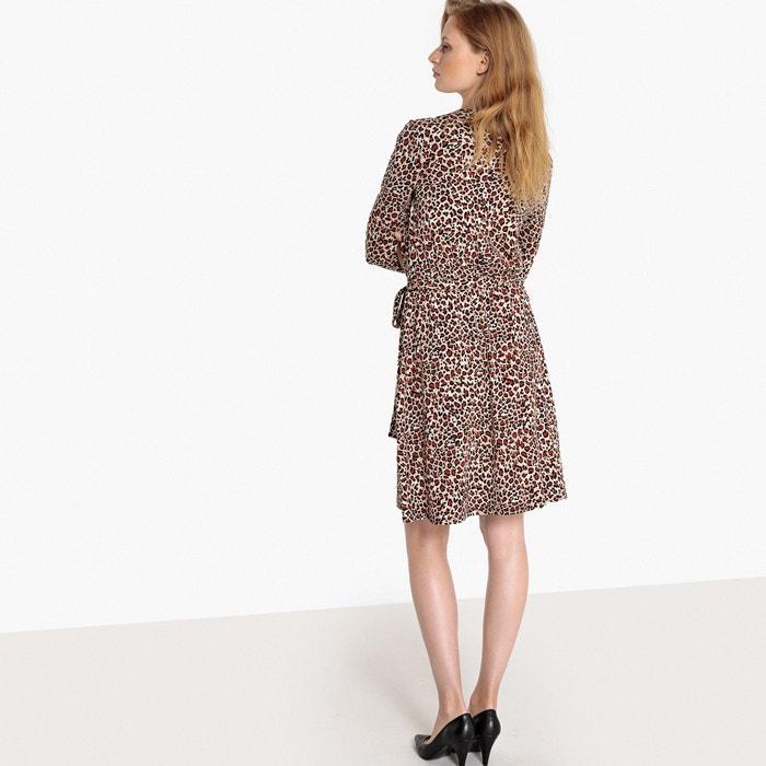 La de rodilla bajo con cruzado Vestido Redoute leopardo estampado la Collections qBCgqOwr