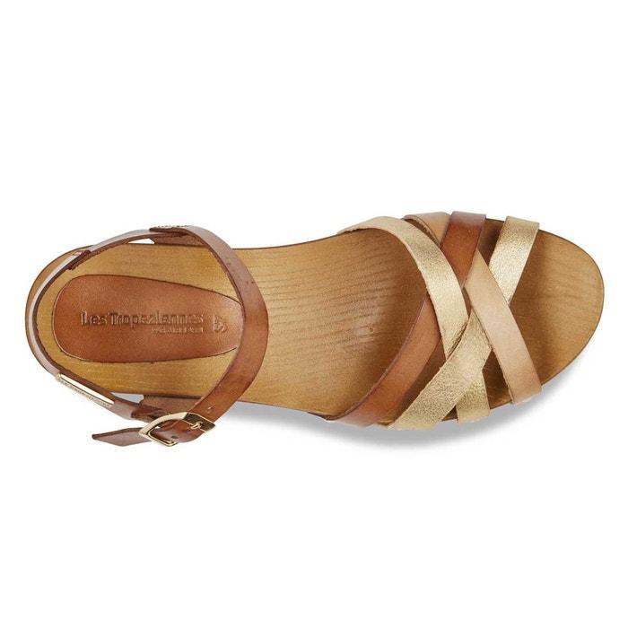 Sandales cuir pluie marron or Les Tropeziennes Par M Belarbi