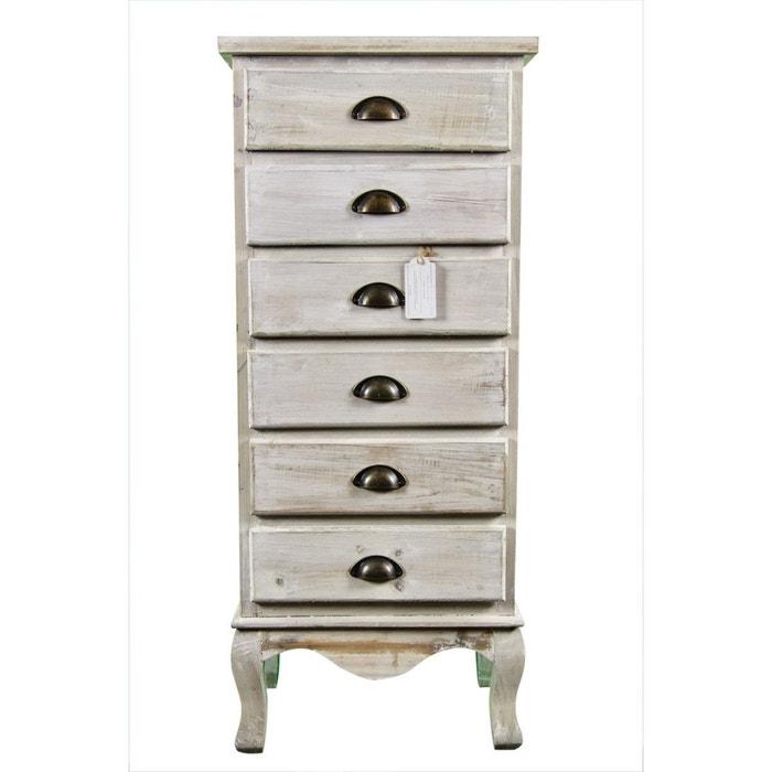 meuble semainier chiffonnier bois 6 tiroirs ceruse blanc blanc decoration d. Black Bedroom Furniture Sets. Home Design Ideas
