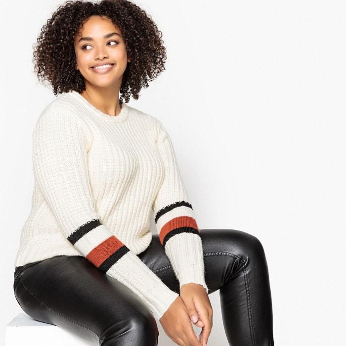 3fdce002321 Chunky knit crew neck jumper sweater ivory striped CASTALUNA PLUS SIZE