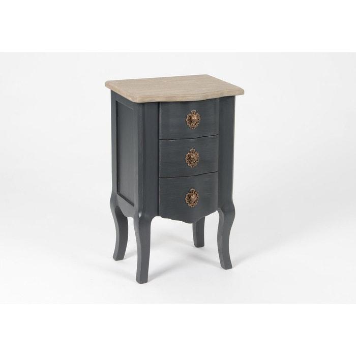 Table de chevet baroque 3 tiroirs celestine ardoise plateau bois ...