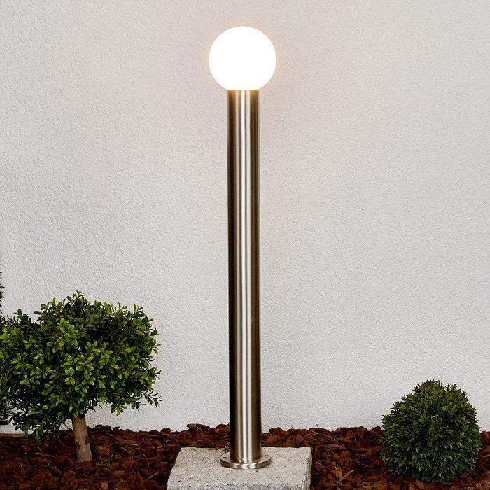borne lumineuse tomma avec abat jour sph rique inox blanc opale lampenwelt la redoute. Black Bedroom Furniture Sets. Home Design Ideas