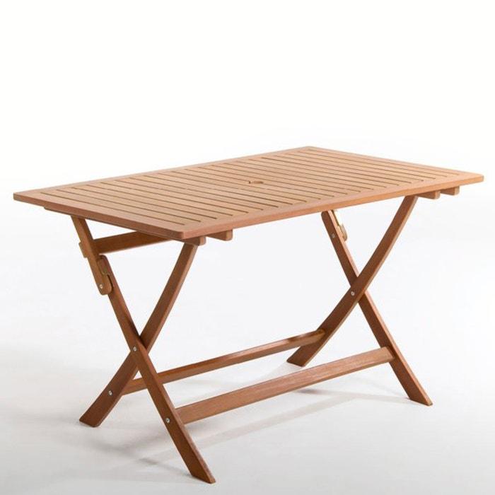 Table rectangulaire pliante eucalyptus 6 couverts bois - Table rectangulaire pliante ...