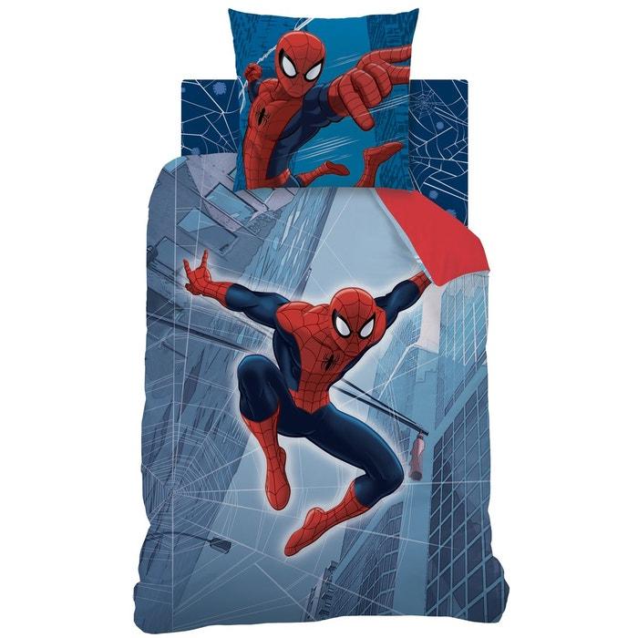 housse de couette et taie d 39 oreiller 140x200 cm spiderman tower 100 coton bleu rouge spider man. Black Bedroom Furniture Sets. Home Design Ideas