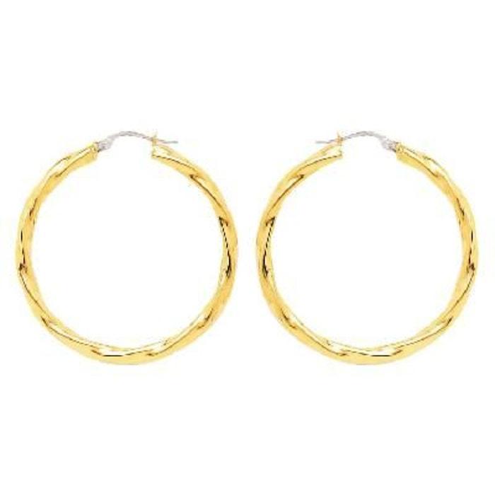 Boucles d'oreilles Femme Créoles Torsades Légères Diamètre 30 mm Fil 3 mm Or Jaune 750/000 (18 carats)