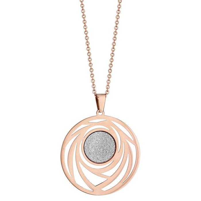 Collier 46 cm rose pendentif rond ajouré aspect granit acier inoxydable couleur unique So Chic Bijoux | La Redoute De France GqHOR
