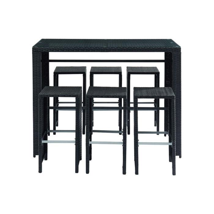 Salon de jardin en résine tressée noire avec table et 6 chaises ...