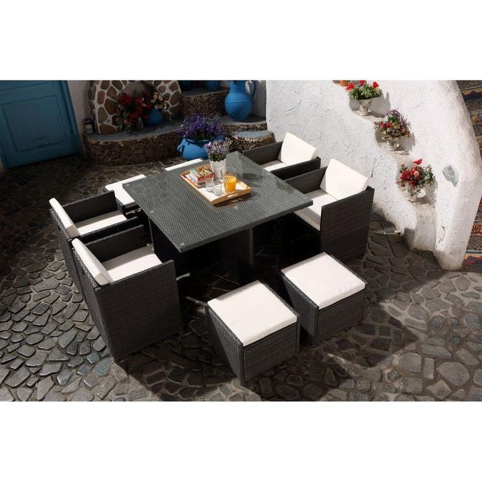 Salon de jardin résine tressée 8 places, miami 8 gris Concept Usine ...